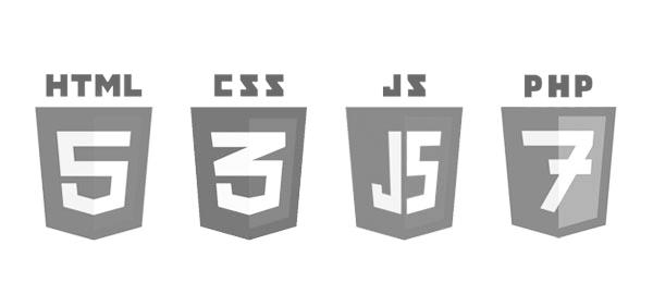 Web-Logos zu HTML CSS JS und PHP auf der Website der CAY SOLUTIONS GmbH.