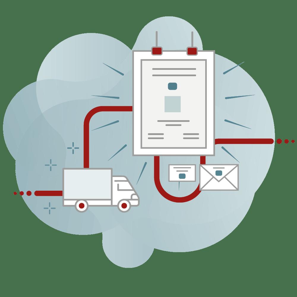 Darstellung des Workflows der Lieferung bei CAY PUBLISH