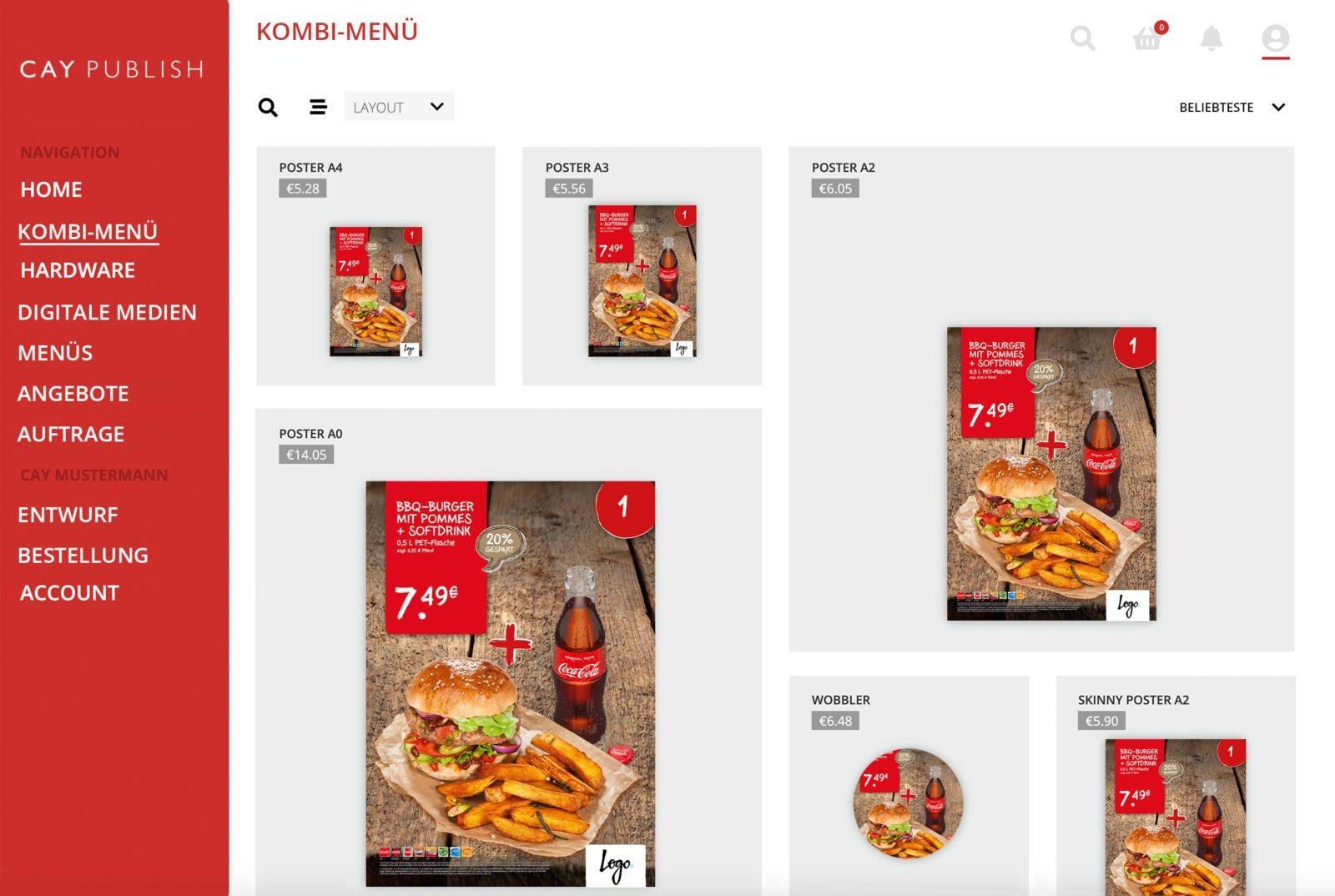 Kombi-Menüs mit CAY PUBLISH