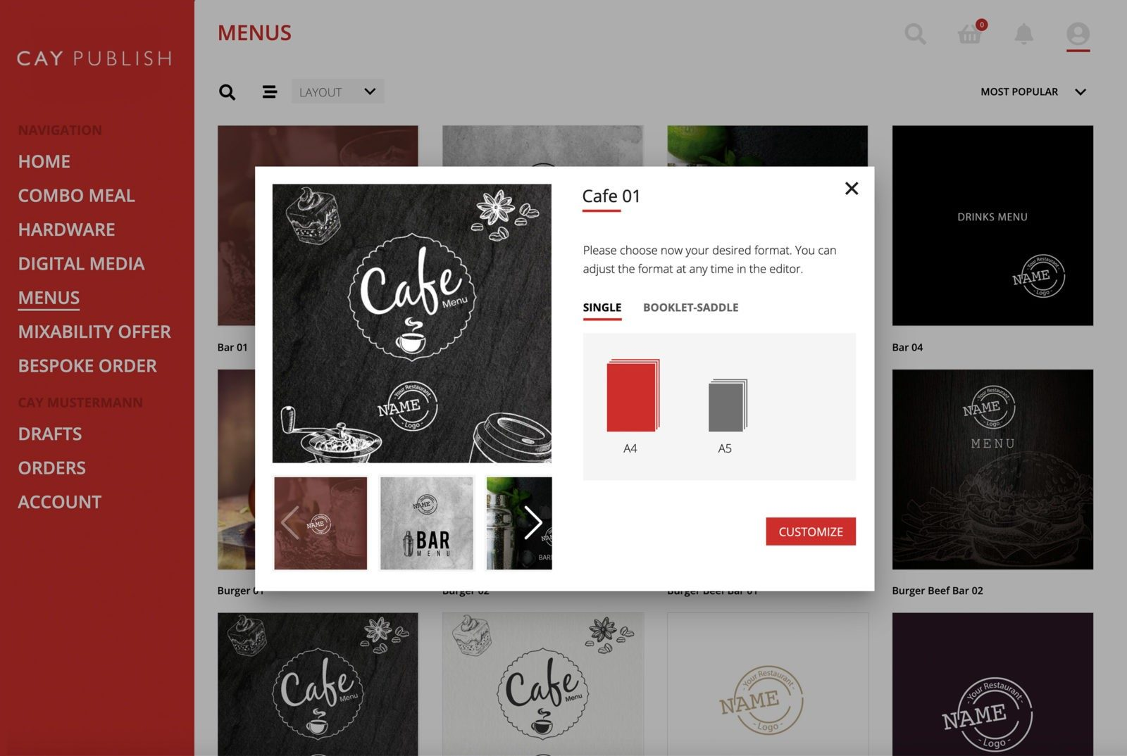 Menu Card Selection in CAY PUBLISH