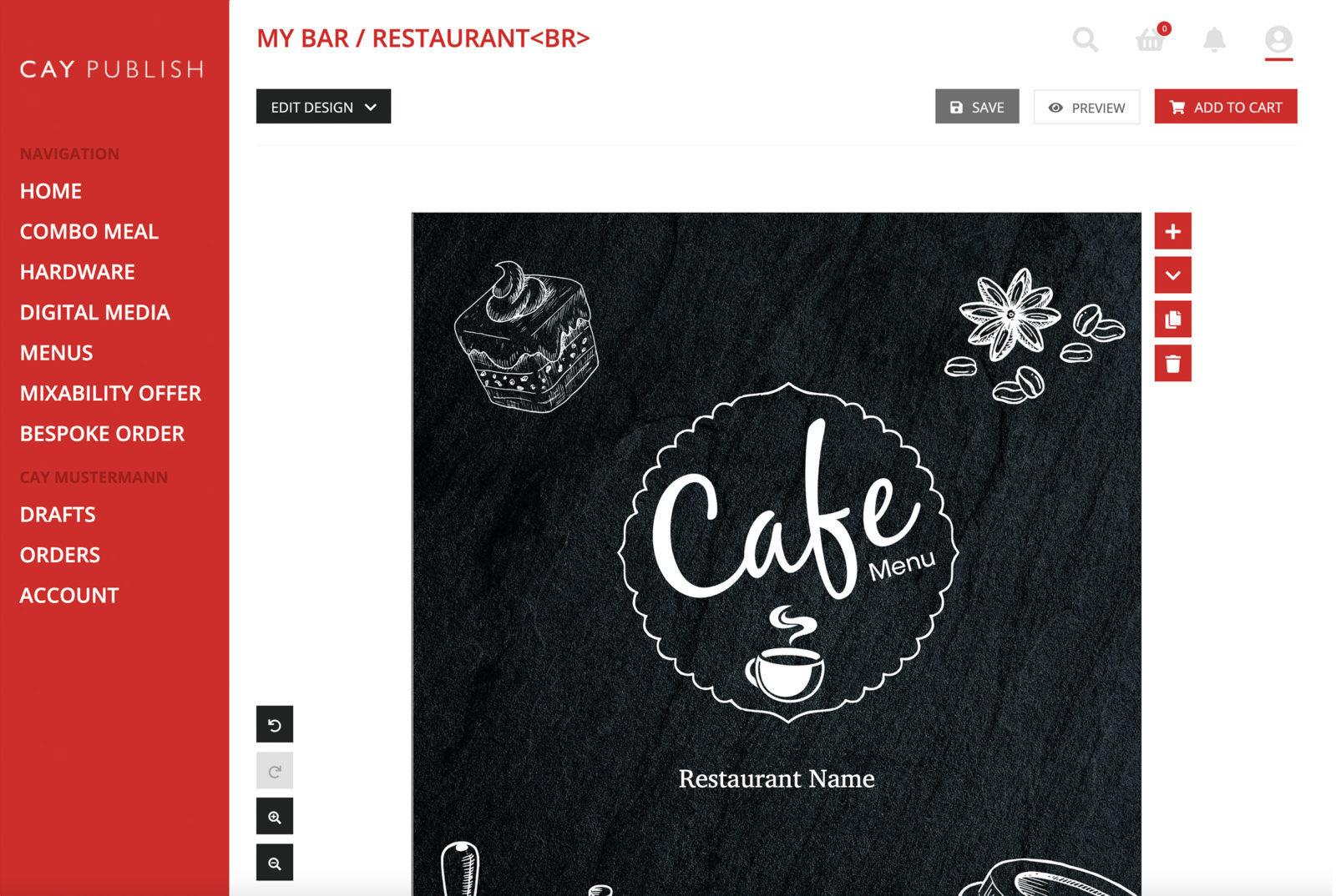 menu card in CAY PUBLISH